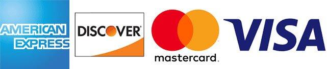 american express, discover, mastercard, and visa logos